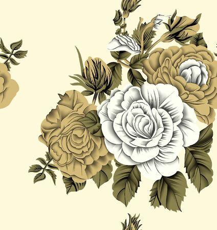 Seamless vintage rose flower pattern Zdjęcie Seryjne