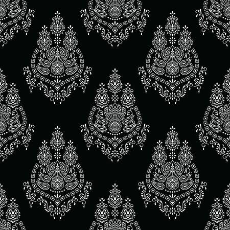 Seamless black and white paisley wallpaper