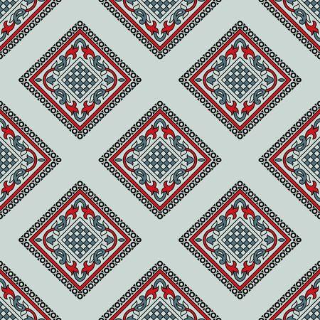 Seamless paisley pattern design with geometrical shapes Çizim