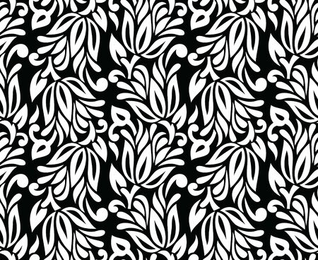 Seamless vintage black and white textile floral pattern