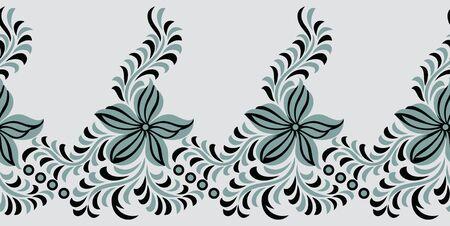 Seamless simple textile floral border