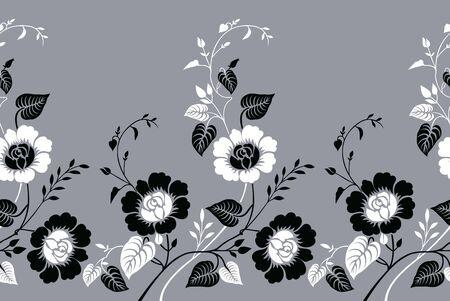 Seamless vintage monochrome rose flower border Ilustrace
