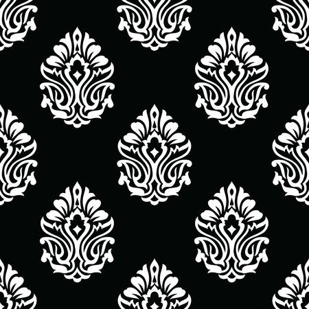 Seamless black and white Victorian damask pattern Иллюстрация
