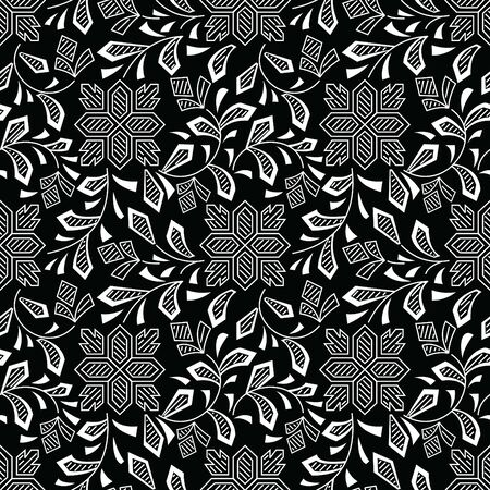 Seamless black and white textile floral pattern
