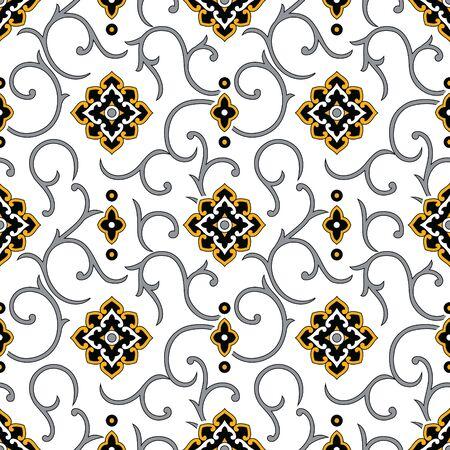 Seamless damask wallpaper pattern design