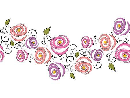 Seamless vector rose flower border