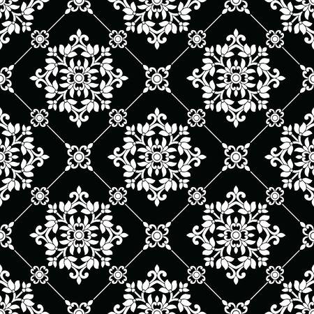 Seamless black and white wallpaper pattern Standard-Bild - 134363097