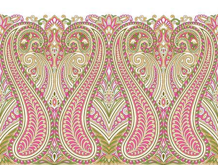 Bordure transparente Paisley avec des éléments de design asiatiques traditionnels