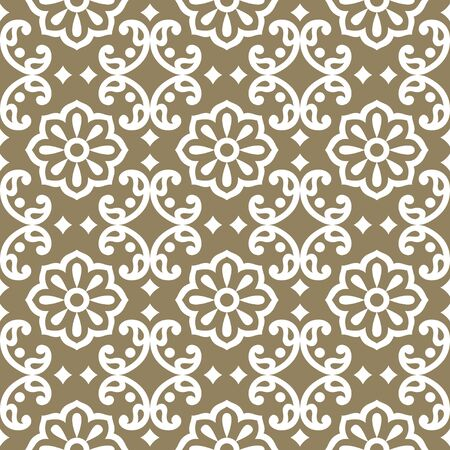 Seamless damask pattern with traditional Asian design elements