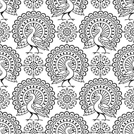 Seamless black and white traditional Asian peacock pattern design