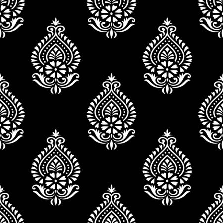 Seamless traditional Asian black and white damask pattern