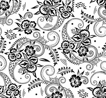 Seamless black and white swirly floral pattern design