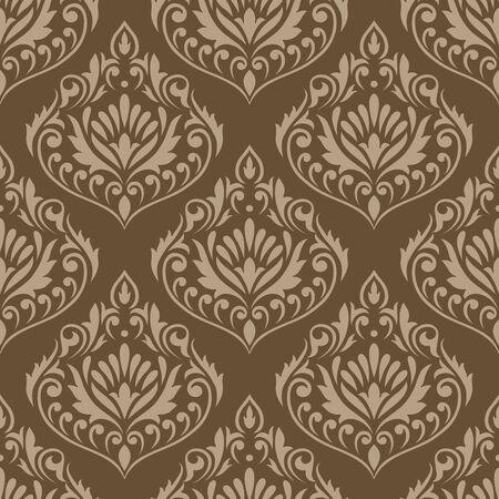 Seamless vintage damask vector wallpaper