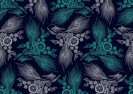 Seamless floral pattern design with peacock feather Ilustracje wektorowe