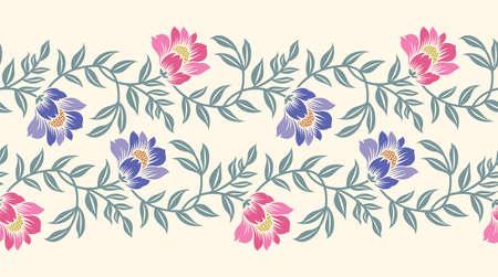 Seamless Asian textile floral border design Illustration
