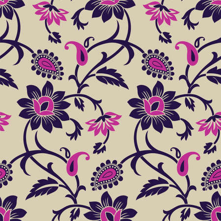 Seamless traditional Asian paisley pattern design Vector Illustration