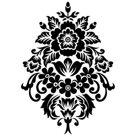 Vector black and white ornamental motif