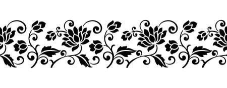 Seamless vector lotus flower border design