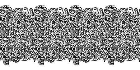 Seamless black and white tribal border design