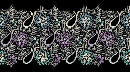 Seamless vector paisley with flowers border design