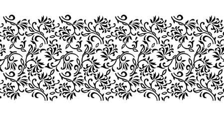 Seamless black and white abstract floral border design Ilustração Vetorial