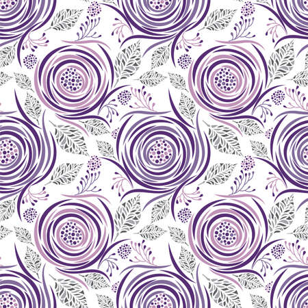 Seamless abstract rose flower pattern design on white background