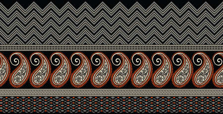 Seamless Asian paisley border with geometrical shapes