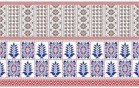 Seamless traditional Asian border design on white background