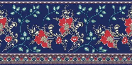 Seamless vintage vector floral border