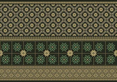Vector damask floral border design