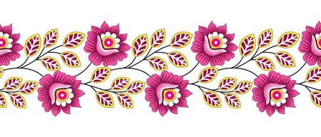 Seamless vector textile floral border design Vector Illustration