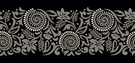 Seamless tribal swirly floral border design