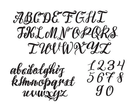 Hand drawn typeface. Painted characters: lowercase and uppercase.
