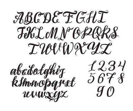 Handgezeichnete Schrift. Gemalte Zeichen: Klein- und Großbuchstaben.