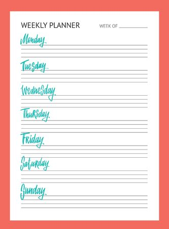 Planner for week. To Do list. Names of weekdays. Hand drawn lettering on white background