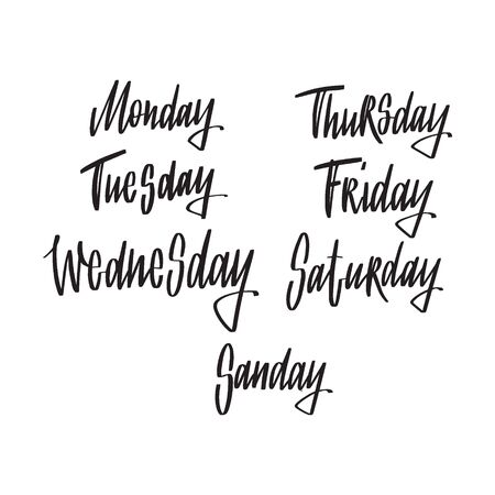 Names of weekdays. Hand drawn lettering on white background for your calendar design.