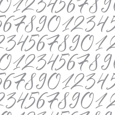 Numbers. Seamless repeating pattern with hand elegant calligraphy numerals for your design on white background
