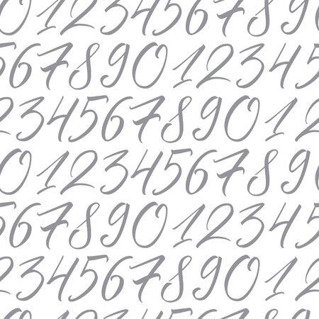 Zahlen. Nahtloses sich wiederholendes Muster mit handeleganten Kalligraphiezahlen für Ihr Design auf weißem Hintergrund