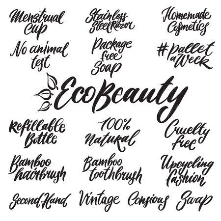 Eco schoonheid handgeschreven letters woorden Vector Illustratie