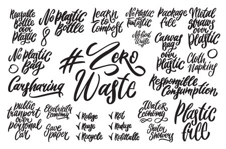 Zero waste hand written lettering words: responsible consumption, canvas bag over plastic, metal straws over plastic, reusable bottle over plastic, carsharing, learn to compost, water economy. Plastic free design on white background