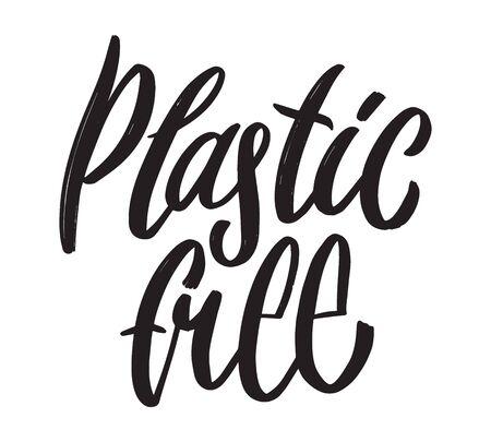 Zero waste hand written lettering word. Plastic free design on white background Illusztráció