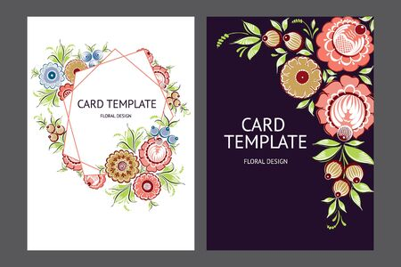 Card template with floral russian traditional ethnic ornament