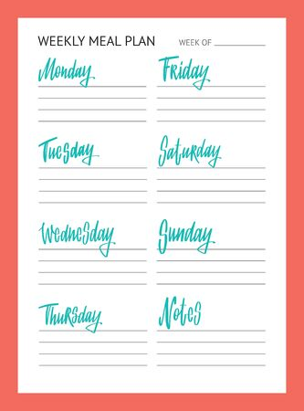 Meal planner for week. To Do list. Names of weekdays. Hand drawn lettering on coral background.  イラスト・ベクター素材