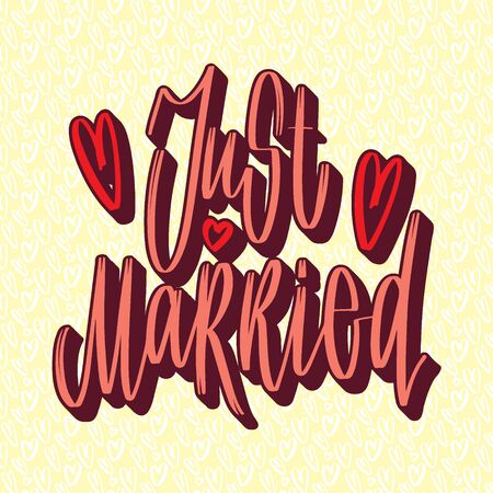 Wedding handwritten lettering for design:  just married. Vettoriali