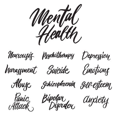 Mental health hand written lettering words: neurosis, depression, suicide, abuse. Psychotherapy design on white background Vettoriali