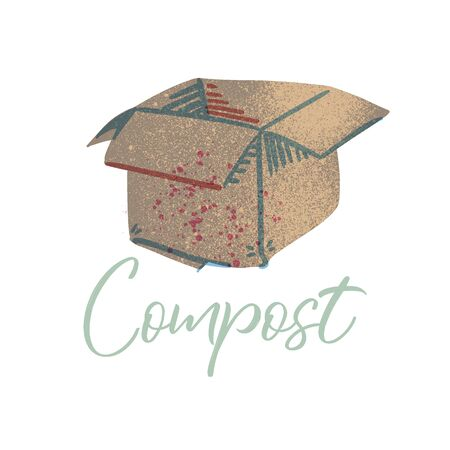 Cardboard to compost. Organic waste theme. Illustration for home food processing and compost, organic waste, zero waste, environmental problem.