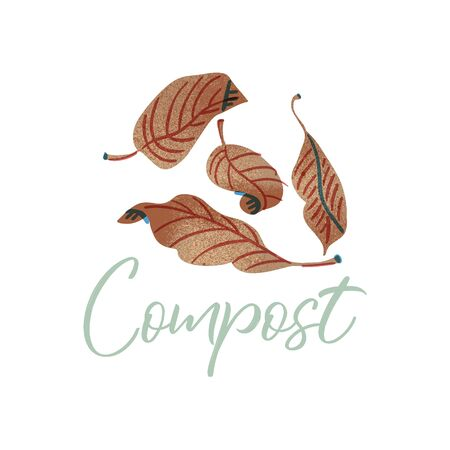 Foliage to compost. Organic waste theme. Illustration for home food processing and compost, organic waste, zero waste, environmental problem. Illusztráció