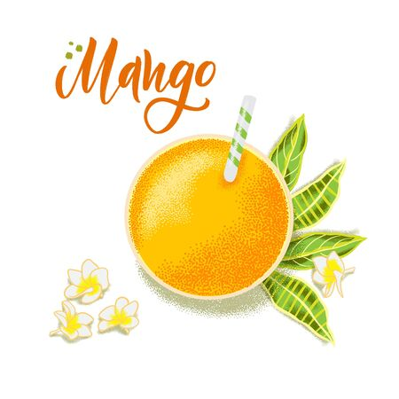 Hand drawn textured mango juice, flowers and leafs.  Colorful food illustration for healthy food cafe, restaurant, fruits and grocery market
