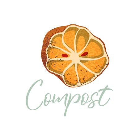 Orange to compost. Organic waste theme. Illustration for home food processing and compost, organic waste, zero waste, environmental problem. Illusztráció