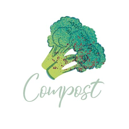 Broccoli to compost. Organic waste theme. Illustration for home food processing and compost, organic waste, zero waste, environmental problem.